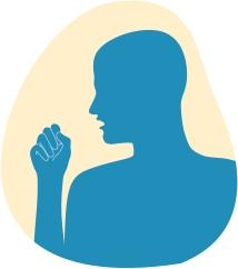 Ilustracja pokazuje mężczyznę kaszlącego w rękę z powodu podrażnienia dróg oddechowych