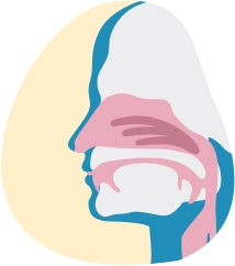 Ilustracja pokazuje nos i usta odgradzające drogi oddechowe