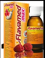 Butelka syropu Flavamed® 30 mg / 5 ml na mokry kaszel wraz z opakowaniem i łyżką