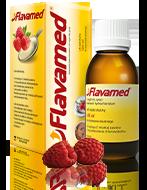 Butelka syropu Flavamed® 15 mg / 5 ml na mokry kaszel wraz z opakowaniem i łyżką