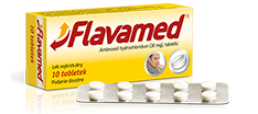 Opakowanie, blister i dwie tabletki Flavamed® 30 mg na mokry kaszel